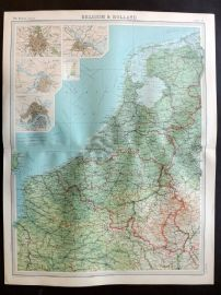 Bartholomew 1922 Large Map. Belgium & Holland